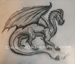 Pencil and charcoal dragon drawing