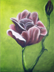Oil painting flowers adding highlights