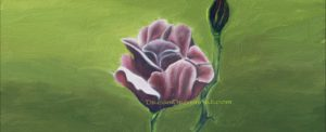 realistic oil painting of dark red rose