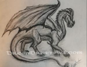 Fantasy art dragons pencil drawing