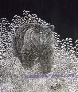 black bear realistic scratch art