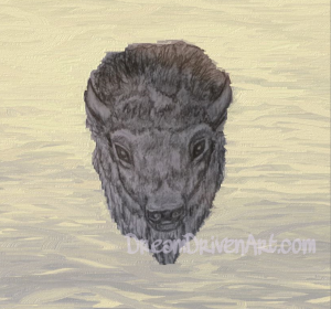 buffalo head drawing with background