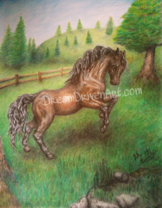 rearing bay colored horse in colored pencil