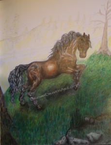 pencil drawings horses adding background 2