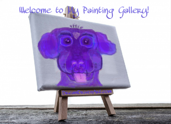 purple cartoon digital dog