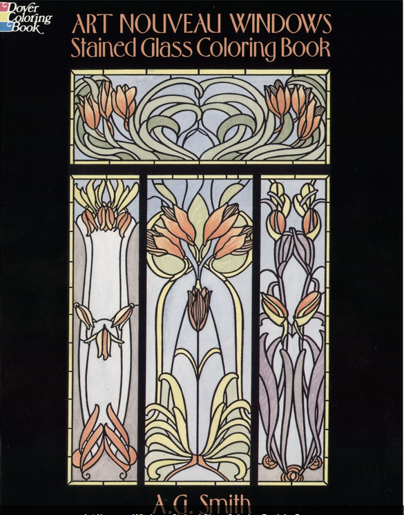 Art Noveau Windows Stained Glass Coloring Book for Adults