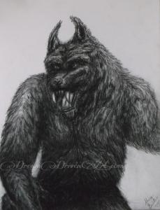 Pencil drawings of werewolf