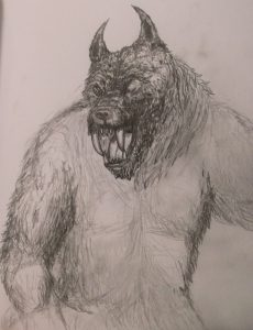 Second werewolf pencil drawing sketch