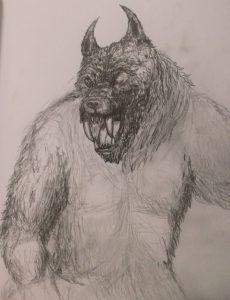 Second werewolf pencil drawing sketch