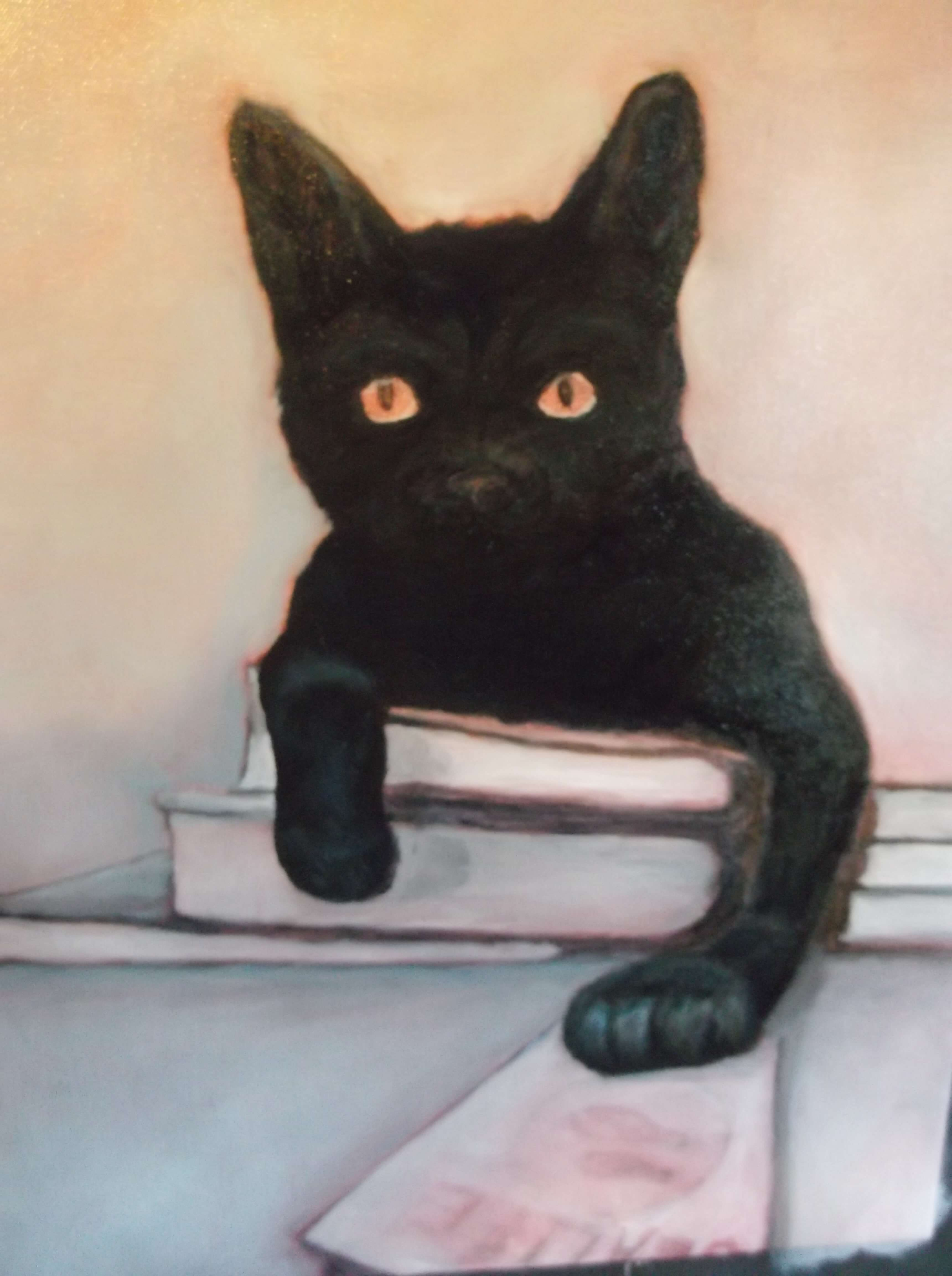 Black Cat Art Oil Painting The Dream