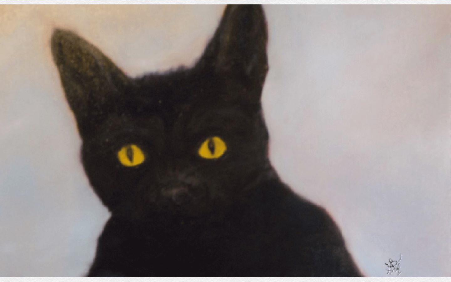 Black Cat Art – Oil Painting of the Black Cat