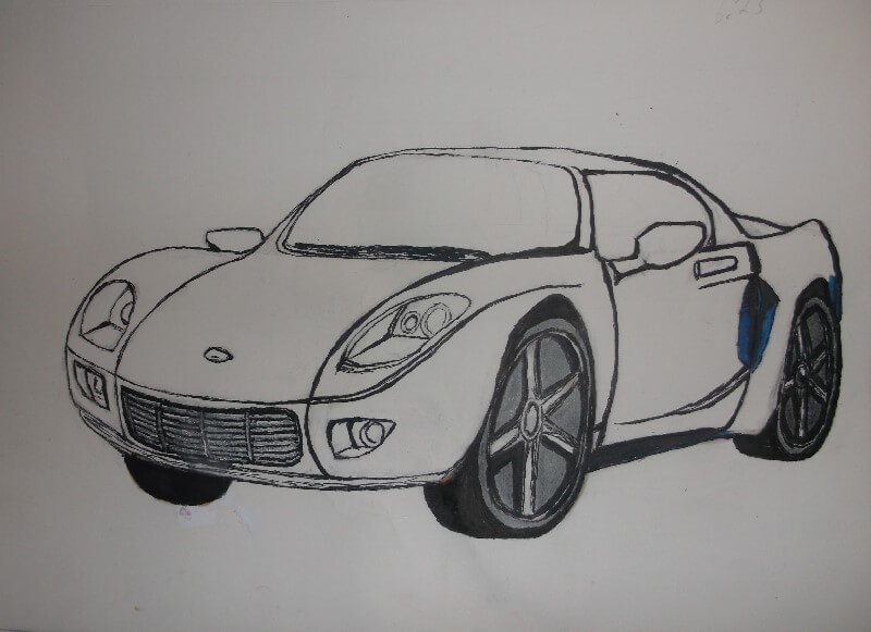 drawing-a-car-outlining-the-sketch-using-marker
