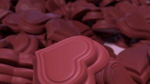 3d valentine chocolate hearts