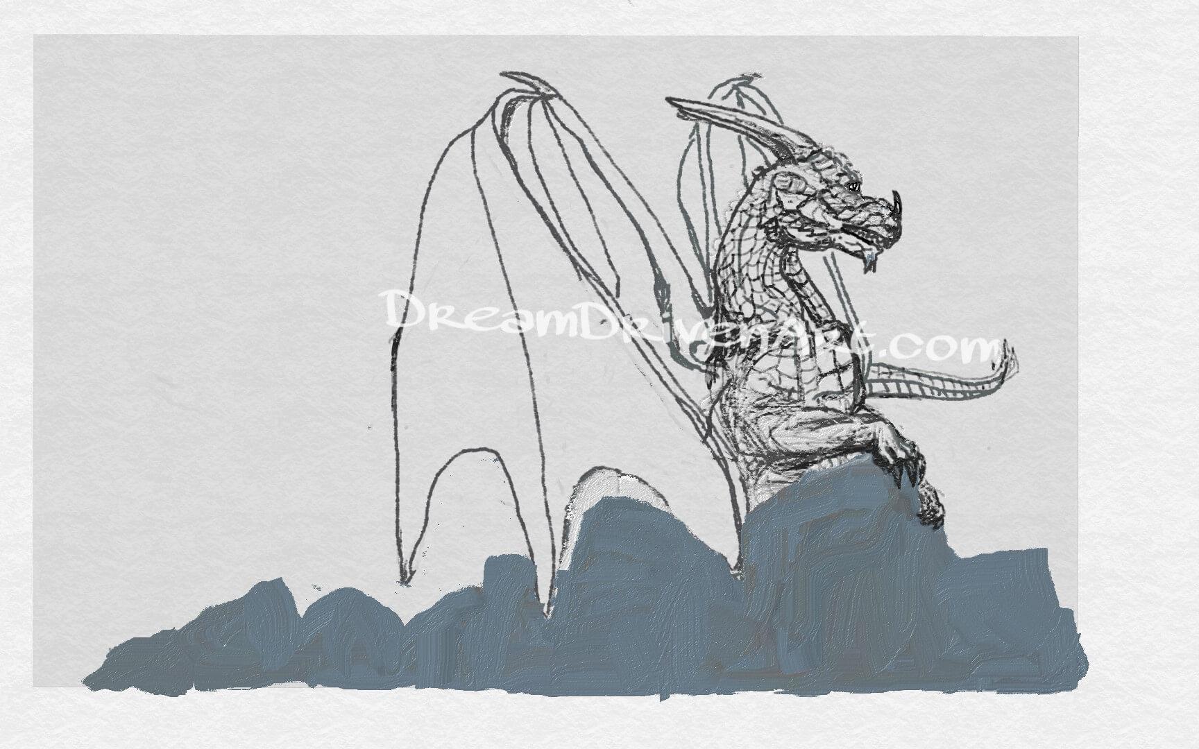 dragon sketch adding scales
