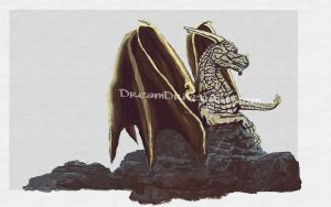 dragon resting on rocks adding more shadows