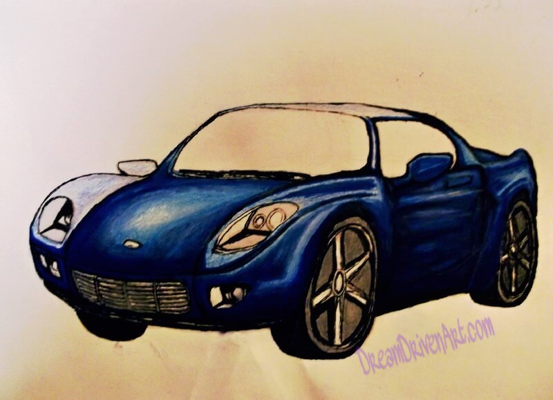 drawing a car adding color with Prismacolor markers