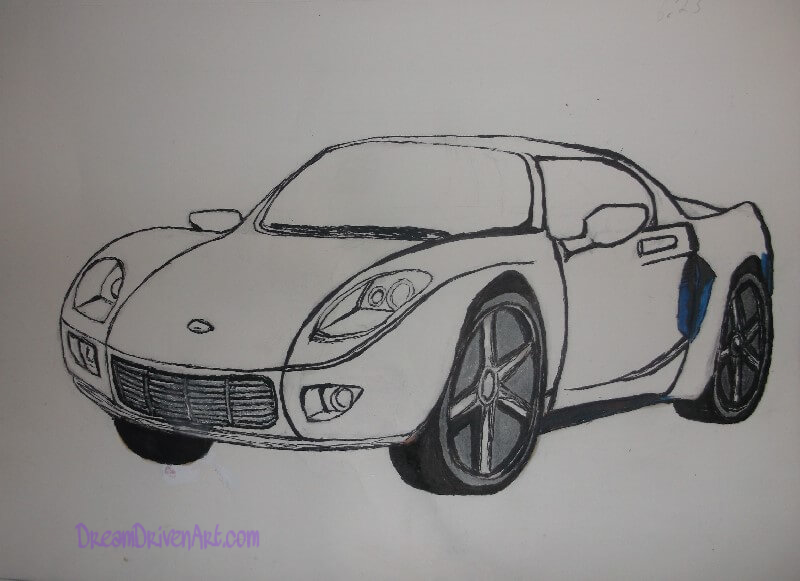 drawing a car outlining the sketch using marker