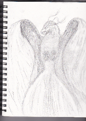 Sketch drawing of the Phoenix rising