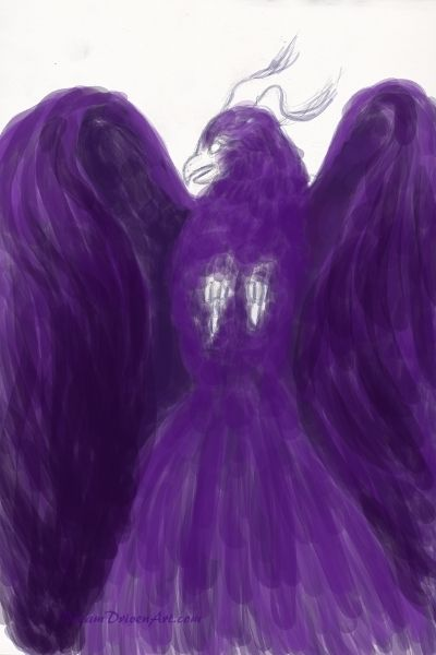 Adding the purple base color to the Mystical Phoenix Bird Digital Painting