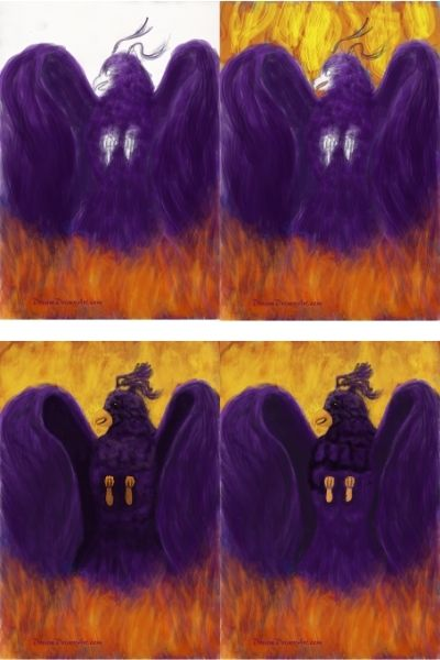 A collage photo of the Phoenix artwork as flames and more color added